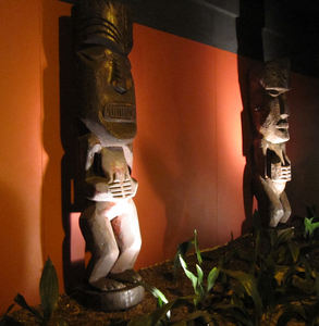 Tikis outside the rear entrance to Trader Vic's in Atlanta