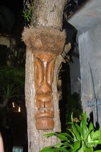 Tiki mask in the garden at Mai-Kai in Ft. Lauderdale