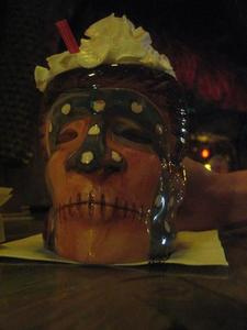 Drink served in a shrunken head mug at Mai-Kai in Ft. Lauderdale
