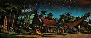 Postcard painting of the Mai-Kai in Ft. Lauderdale