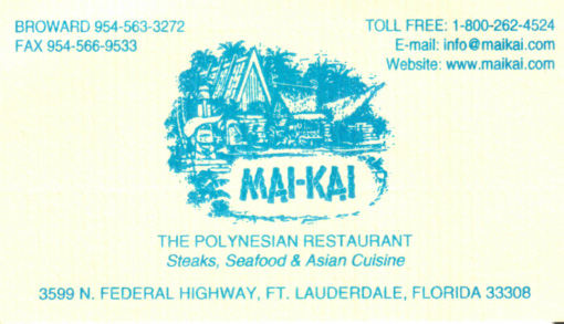 Mai kai in fort lauderdale fl critiki for Business cards fort lauderdale