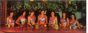 Postcard of waitresses at the Surfboard Bar at Mai-Kai in Fort Lauderdale
