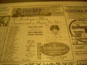 Newspaper ad listing entertainers who had performed at Aku Aku in Toledo