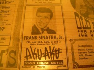 Ad for Frank Sinatra Jr. at Aku Aku in Toledo