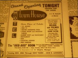 December 1960 advertisement for the grand opening of the Aku Aku in Toledo