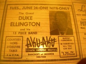 Advertisement for Duke Ellington playing at the Aku Aku in Toledo