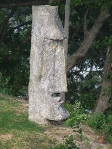 Moai on an adjacent hillside, this used to be at the front of the restaurant at Vera's White Sands Beach Club in Lusby