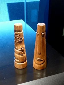 Salt and pepper shakers in the Tiki Pop exhibit at Mus�e du Quai Branly in Paris