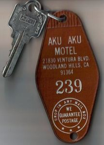 Room key from the Aku Aku Motel in Woodland Hills