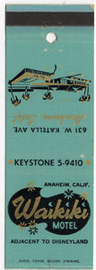 Matchbook from Waikiki Motel in Anaheim