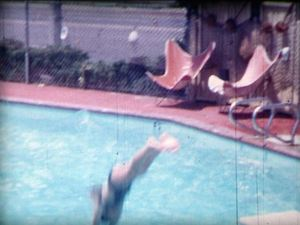 The pool, from a 8mm frame from the owner's private footage of Kona Kai Motel in Anaheim