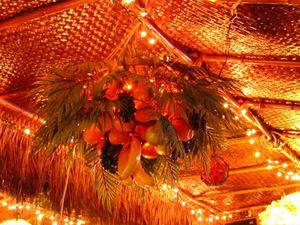 Bountiful vegetation on the ceiling lamps of the Sip-N-Dip Tiki Lounge in Great Falls
