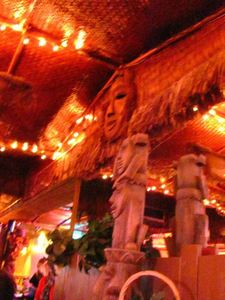 Toscano tiki amongst the decor at Sip-N-Dip Tiki Lounge in Great Falls