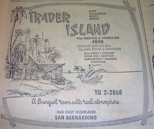 1967 phone book ad for Trader Island, from the San Bernardino Public Library