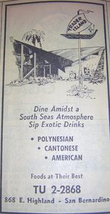 1968 phone book ad for Trader Island, from the San Bernardino Public Library