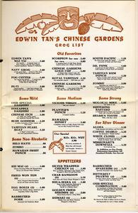 Menu from Edwin Tan's Chinese Gardens in San Bernardino