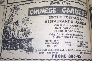 1970 phone book ad for Edwin Tan's Chinese Gardens, from the San Bernardino Public Library