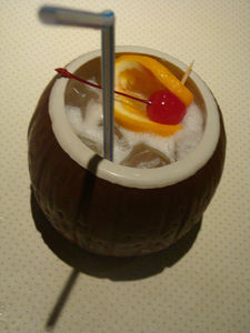Drink in a coconut mug at Tiki-Tiki Restaurant in Richmond