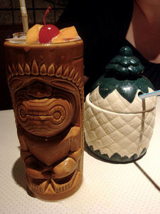 Drinks in mugs at Tiki-Tiki Restaurant in Richmond
