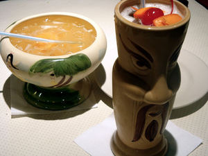 Drinks in a mug and bowl at Tiki-Tiki Restaurant in Richmond