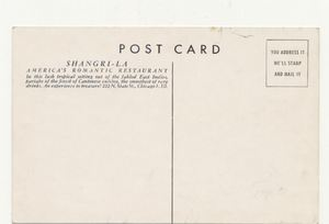 Reverse of postcard from Shangri-La in Chicago