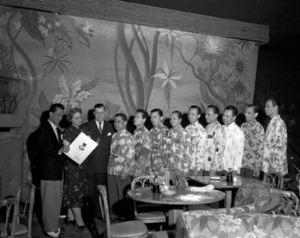 The waiters, Including my dad and godfather, in a vintage photo from Shangri-La in Chicago