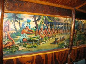 Mural in the back dining room at South Pacific in Newton