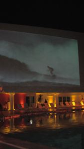 Poolside movies at Trader Vic's Lounge in Beverly Hills