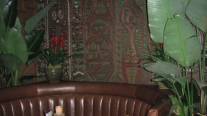 Carved wall panel at Trader Vic's Lounge in Beverly Hills
