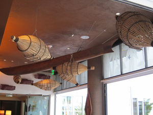 Ceiling decor at Trader Vic's Lounge in Beverly Hills