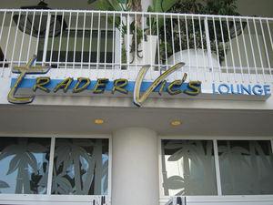 Poolside sign for Trader Vic's Lounge in Beverly Hills