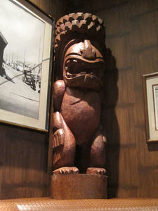 A tiki at Trader Vic's Lounge in Beverly Hills
