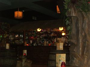 Bar and moai decoration at Sugar Cane in London