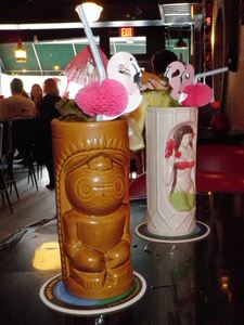 Drinks in tiki mugs at Voodoo Tiki Bar & Lounge in Charleston
