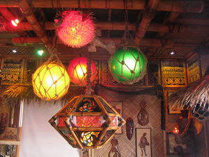 Tiki lamp trifecta in the Tonga Lei Room at The Beachcomber in Malibu