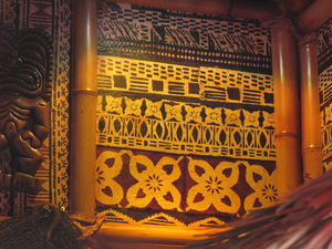 Tapa cloth in the Tonga Lei Room at The Beachcomber in Malibu