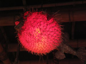 Pufferfish lamp at The Beachcomber in Malibu