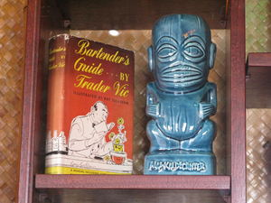 Trader Vic's book and Mai-Kai decanter at The Beachcomber in Malibu