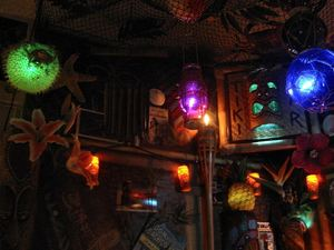Decor at Castaway Clemens' Paradise Cove Tiki Lounge in Los Angeles