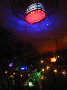 Basket light fixture at Castaway Clemens' Paradise Cove Tiki Lounge in Los Angeles