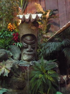 Tiki in the Hidden Village fountain at Kona in Huntington Beach