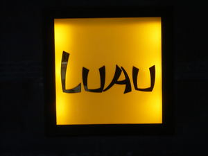 Sign for Luau in Beverly Hills