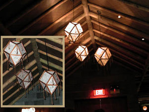 Polygon lamps in the bar at Luau in Beverly Hills