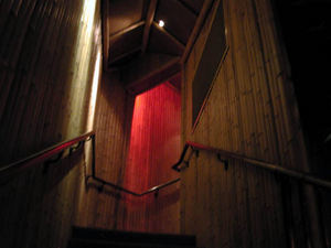 Bamboo-lined staircase up to the restrooms at Luau in Beverly Hills