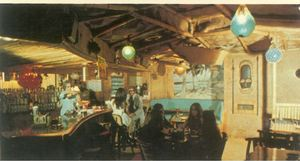 Detail from a postcard, showing the Tiki Room lounge at The Bamboo in Shreveport