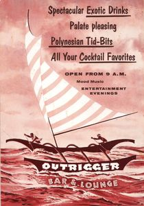 Postcard mailer from Outrigger Bar and Lounge in New Orleans