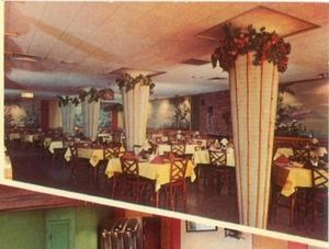 Dining room, from a postcard from The Tropics in Lincoln