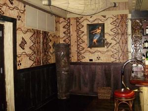Bar area inside Trader Vic's in Chicago
