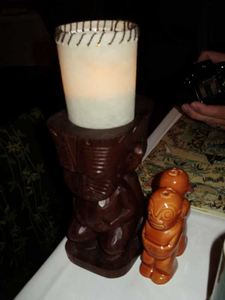 Table lamp and salt & pepper shakers at Trader Vic's in Chicago