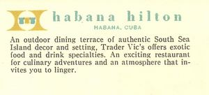 Back of a postcard from Trader Vic's in Havana